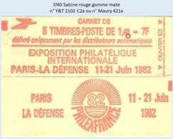 FRANCE - Carnet 1f40 Sabine Rouge - YT 2102 C2a / Maury 421a - Carnets