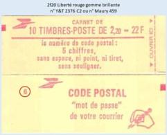 FRANCE - Carnet Conf. 6 - 2f20 Liberté Rouge - YT 2376 C2 / Maury 459 - Carnets