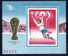 ROMANIA 1978 Football World Cup Imperforate Block MNH / **.  Michel Block 150 - Blocks & Sheetlets