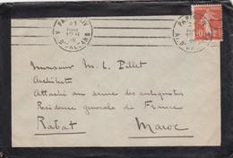 LETTRE 1916. SEMEUSE CAME . 10c PARIS POUR RABAT MAROC - Postmark Collection (Covers)