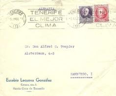 CARTA COMERCIAL TENERIFE 1936  BONITO MATASELLOS DE RODILLO - 1931-Hoy: 2ª República - ... Juan Carlos I