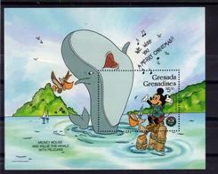 GRENADA GRENADINES 1986 WALT DISNEY MICKEY MOUSE WILLIE THE WHALE PELICANS CHRISTMAS BLOCK SHEET BLOCCO FOGLIETTO MNH - Grenada (1974-...)