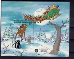 GRENADA GRENADINES 1986 WALT DISNEY CHRISTMAS EVE WOODLAND GREETINGS AUGURI DI NATALE BLOCK SHEET BLOCCO FOGLIETTO MNH - Grenada (1974-...)