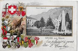 GRUSS AUS GLARUS → Fantastische Präge-Lithokarte Mit Dem Neuen Bahnhof Anno 1904 - GL Glaris
