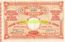 ANCIEN BILLET DE LOTERIE COLONIALE CONGO ** 1935  - 7 E TRANCHE - SNEDE **  KOLONIALE LOTERIJ BILJET - Billets De Loterie