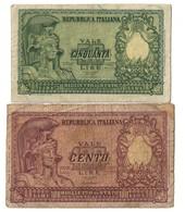 Italy Lot Set 50 - 100 Lire 1951 .L. - [ 2] 1946-… : Repubblica