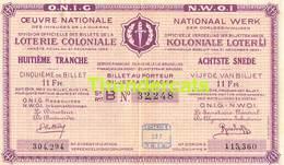 ANCIEN BILLET DE LOTERIE COLONIALE CONGO ** 193.. ??  - 8 E TRANCHE - SNEDE - REEKS B **  KOLONIALE LOTERIJ BILJET - Billets De Loterie