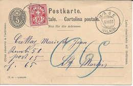 VALAIS, MAGE 1900, Type Chiffre Sur Entier Postal, Remboursement, Nachnahme, Pour St-Martin, WALLIS. - 1882-1906 Wappen, Stehende Helvetia & UPU