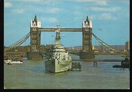 Cpm St004392 Hms Belfast Pont De Londres Et Navire De Guerre Belfast Proue - River Thames