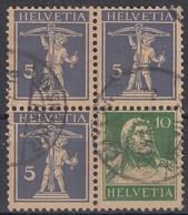 SCHWEIZ S 9, Im 4erBlock, Gestempelt, Tellknabe Und Tell 1924 - Se-Tenant