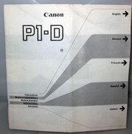 CANON P1-D ISTRUZIONI NOTICE D'EMPLOI INSTRUCTIONS - Altre Collezioni