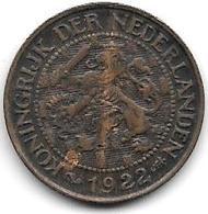Netherlands  1 Cent 1922 Km 152   Xf - [ 3] 1815-… : Kingdom Of The Netherlands