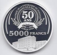 Burundi 5000 Francs 2014. PROOF SILVER Ag The 50th Anniversary Of The Central Bank Of Burundi - Burundi