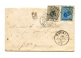 Belgique N°17 Et 18 Sur Lettre Ambulant Arras + Ambulant Paris Aux Pyrénées (au Dos) - (W1085) - 1865-1866 Profil Gauche