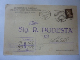 "Cartolina Postale Viaggiata ""CONFEDERAZIONE NAZIONALE SINDACATI FASCISTI AGRICOLTURA - Podestà Di Navelli"" Timbri 1933 - Storia Postale"