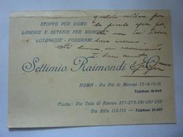 """Cartoncino Manscritto  """"SETTIMIO RAIMONDI & C. ROMA""""  1926 - Diplomi E Pagelle"""