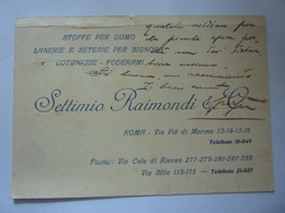 "Cartoncino Manscritto  ""SETTIMIO RAIMONDI & C. ROMA""  1926 - Diplômes & Bulletins Scolaires"