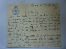 "Cartoncino Manscritto  ""REGIA ACCADEMIA DI SANTA CECILIA"" Roma, 20 Aprile 1934 - Diplômes & Bulletins Scolaires"