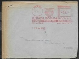 STORIA POSTALE REPUBBLICA - AFFRANCATURA MECCANICA ROSSA - SOMMARIVA VIAGGI 14.09.1954 DA MILANO - Affrancature Meccaniche Rosse (EMA)