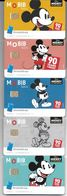 TRANSPORT LOT 5 CARTES A PUCE MOBIB METRO TRAMWAY BRUXELLES 90 ANS MICKEY TRANSPORT WALT-DISNEY DESSIN ANIME - Collections