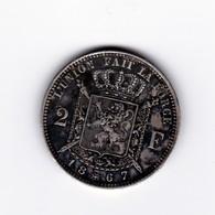 Très Belle 2 Francs Belgique 1867 (Type Avec Croix à Peine Marquée) TTB à SUP - 1865-1909: Leopold II