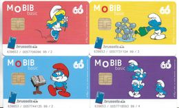 TRANSPORT LOT 4 CARTES A PUCE MOBIB METRO TRAMWAY BRUXELLES 60 ANS SCHTROUMPFS TRANSPORT DESSIN ANIME PEYO - Collections