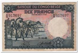 BELGIAN CONGO,10 FRANCS,1949,P.14,VF-XF - Zonder Classificatie