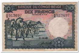 BELGIAN CONGO,10 FRANCS,1949,P.14,VF-XF - Unclassified
