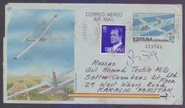 SPAIN Postal History, 27 Pta Pictorial Aerogramme Stationery Aeroplane, Used 4.4.1986 With Slogan Postmark COSMO - 1931-....