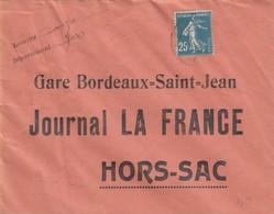 LETTRE. 1926. EAUZE GERS. GARE BORDEAUX HORS SAC JOURNAL LA FRANCE - Marcofilie (Brieven)