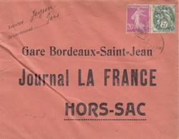 LETTRE. 1927. JEGUN GERS. GARE BORDEAUX HORS SAC JOURNAL LA FRANCE - France