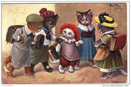 Illustrateur Arthur Thiele - Chats Humanisés - Rentrée Des Classes - T.S.N. Série 862 - 2 Sacans - Thiele, Arthur