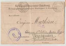 Ww1 Kriegsgefangenenlager-Sendung Stuttgart Lettre Mathieu Sous-Off Pour Perpignan En FM 1918 - 1914-18