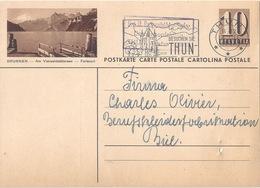 """PK 163  """"Brunnen - Am Vierwaldstättersee -  Ferienort""""  Thun - Biel          1947 - Interi Postali"""