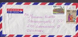 Sri Lanka Par Avion Air Mail KANDY 1991 Cover 10.00 Christmas & Zug Dampflokomotive Stamps - Sri Lanka (Ceylan) (1948-...)