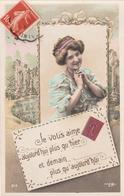 Thematiques Langage Des Timbres Je Vous Aime Aujourd'hui Plus Qu'hier Et Demain Plus Timbré Datée Main Montfort 1911 - Fantaisies