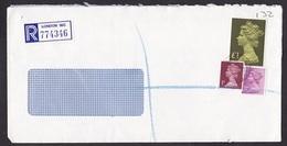 UK: Registered Cover, 1986, 3 Stamps, Machin, High Value, R-label (damaged, See Scan) - 1952-.... (Elizabeth II)