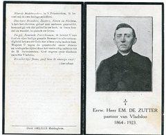 Doodsprentje Priester/Prêtre EM. Emilius De Zutter °1864 Kanegem †1923 Vladslo -Sint-Baafs-Vijve,Essen,Koekelare (B53) - Esquela