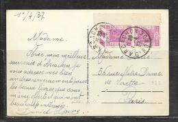 LOT 1901007 - N° 322 EN PAIRE (BORD DE FEUILLE ) SUR CP DE ARCACHON DU 01/04/37 POUR PARIS - Marcophilie (Lettres)