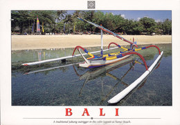 Indonesia PPC Bali A Traditional Jukung Outrigger Lagoon At Sanur Beach 2009 To HELLERUP Bird Vogel Oiseau Falkon Stamp - Indonesien