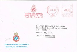 31009. Carta BARCELONA 1990. Franqueo Mecanico FUTBOL RCD Español - 1931-Hoy: 2ª República - ... Juan Carlos I