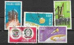 PANAMA 1967 SATELLITI ITALIANI YVERT 432-433+POSTA AEREA 400-402 USATA VF - Panama