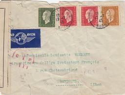 LETTRE. 1945. 8,40F. PAR AVION. RHONE CALUIRE POUR BEYROUTH LIBAN. CENSURE    / 2 - 1921-1960: Periodo Moderno
