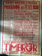 Affiche - Saint Brevin (44) - Programme Des Fetes Eté 1938 - Concours Cerf-Volant /Plongeon/plus Bel Enfant/maillot Bain - Affiches