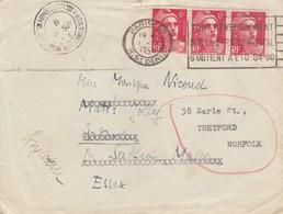 LETTRE. 1948. BANDE DE 3 GANDON. 18F PARIS POUR MALLEN REDIRIGEE ESSEX. CACHET ANGLAIS   / 2 - Marcophilie (Lettres)