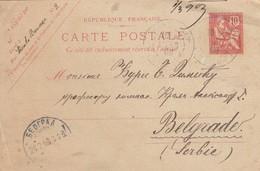 CARTE. 1903. ENTIER MOUCHON 10. PARIS POUR BELGRADE SERBIE   / 2 - Marcophilie (Lettres)