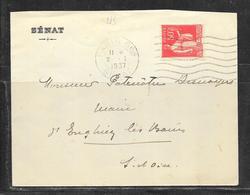 LOT 1901019 - N° 283 SUR LETTRE DU SENAT OBLITERE PARIS SENAT DU 02/01/37 POUR ENGHIEN LES BAINS - Postmark Collection (Covers)