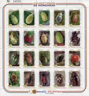 Lote H3, Honduras, 2003, Pliego, Sheet, 20 V, Coleopteros, Beetles - Honduras