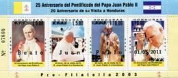 Lote H4, Honduras, 2003, Pliego, Sheet, 4 V, 25 Aniversario Del Pontificado Del Papa Juan Pablo II, Pope John Paul II - Honduras