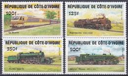 Elfenbeinküste Ivory Coast Cote D'Ivoire 1984 Transport Verkehr Eisenbahnen Railways Lokomotiven Trains, Mi. 826-9 ** - Côte D'Ivoire (1960-...)